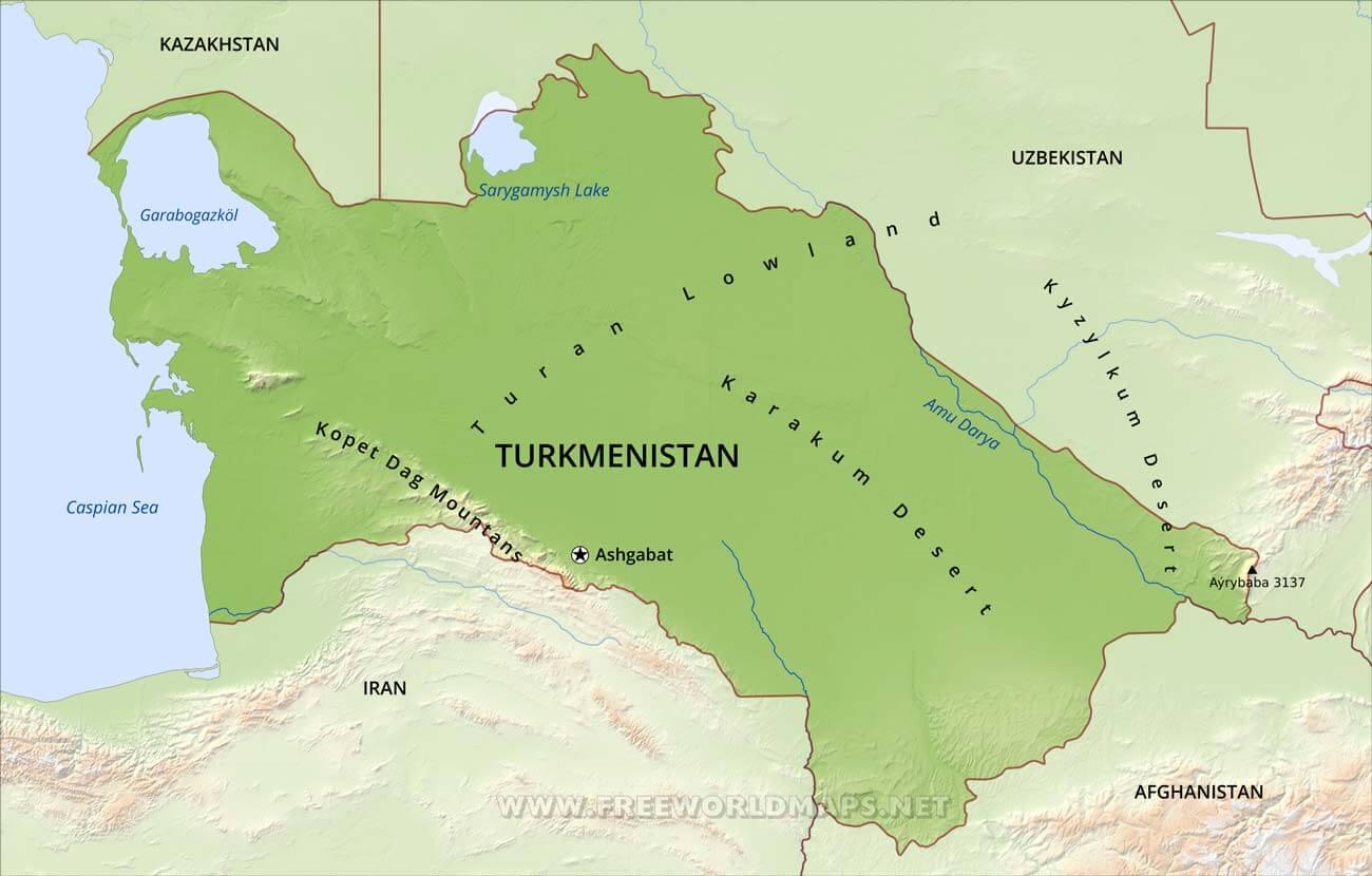 Turkmenistan Physical Map - Turkmenistan map