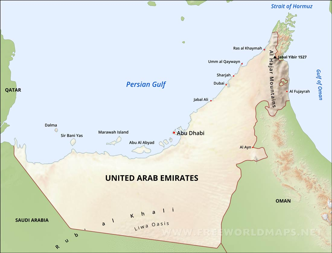 United Arab Emirates Physical Map
