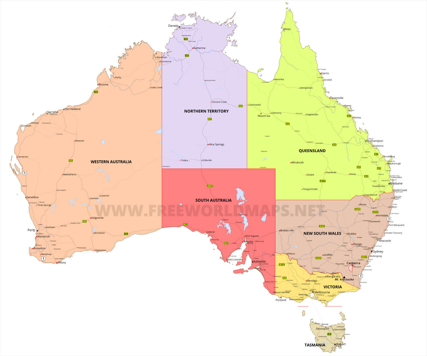 Australia Map Vector Ai.Detailed Map Of Australia