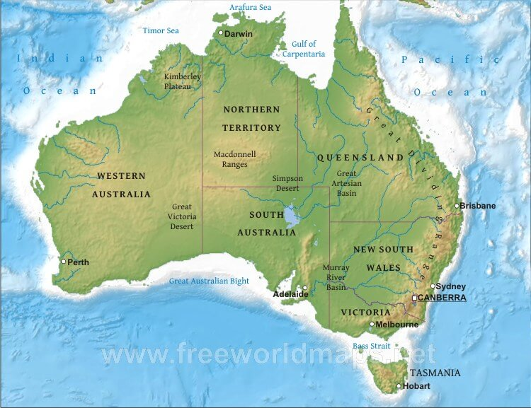 Australia Physical Map – Freeworldmaps.net