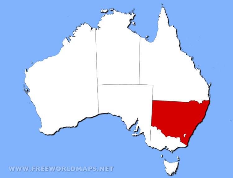 Physical Map Of New South Wales Australia - South wales australia map