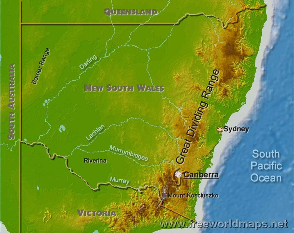 Physical Map Of New South Wales Australia - Australia physical map