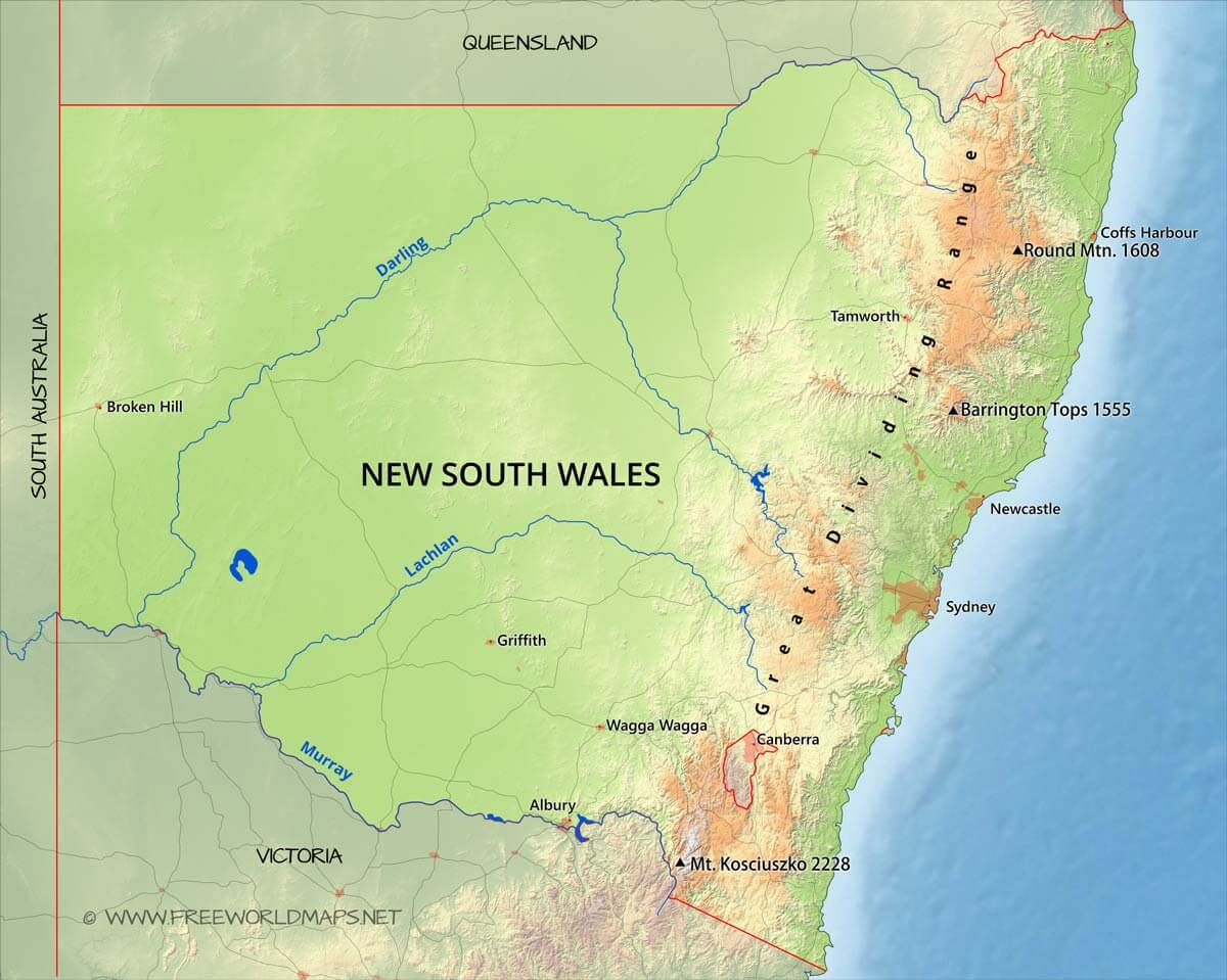 Physical map of New South Wales Australia