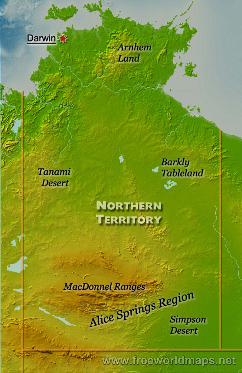 Physical map of Northern Territory Australia