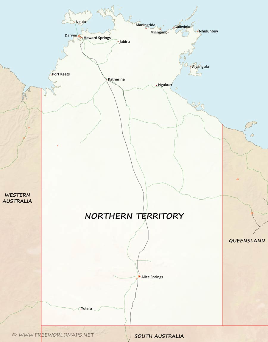 Northern Australia Map.Northern Territory Maps