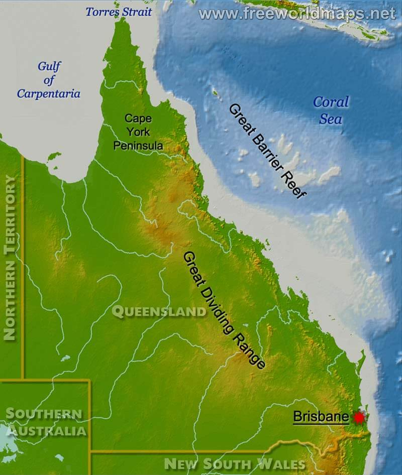 Map Australia Queensland.Physical Map Of Queensland Australia