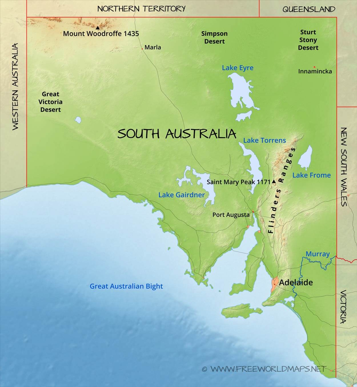 Physical map of South Australia Australia