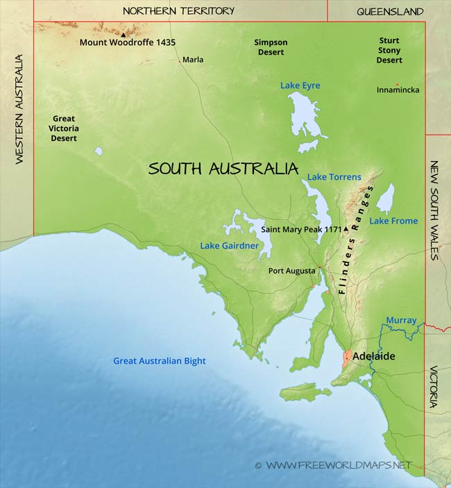 physical map of south australia