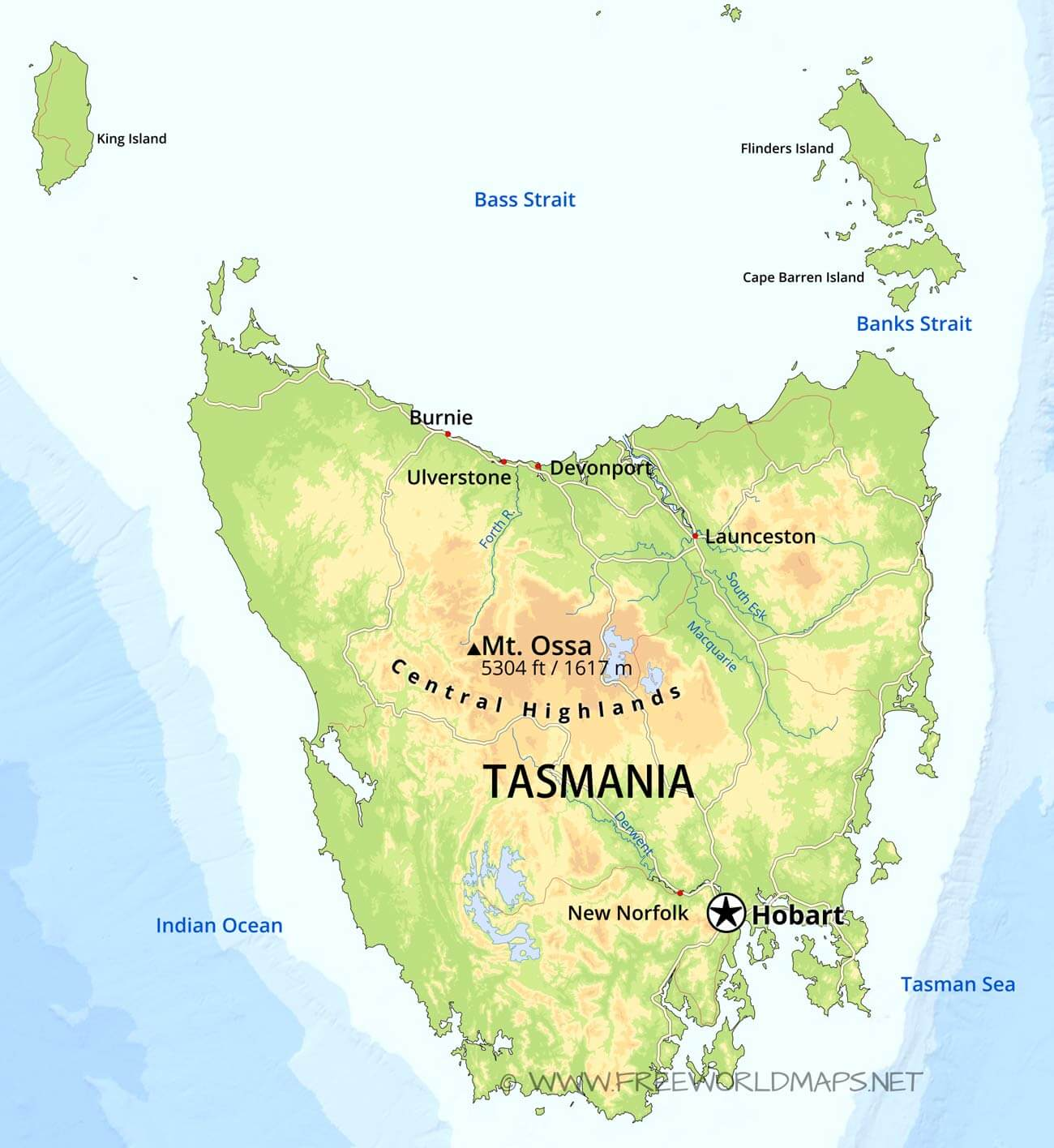 Physical Map Of Tasmania Australia
