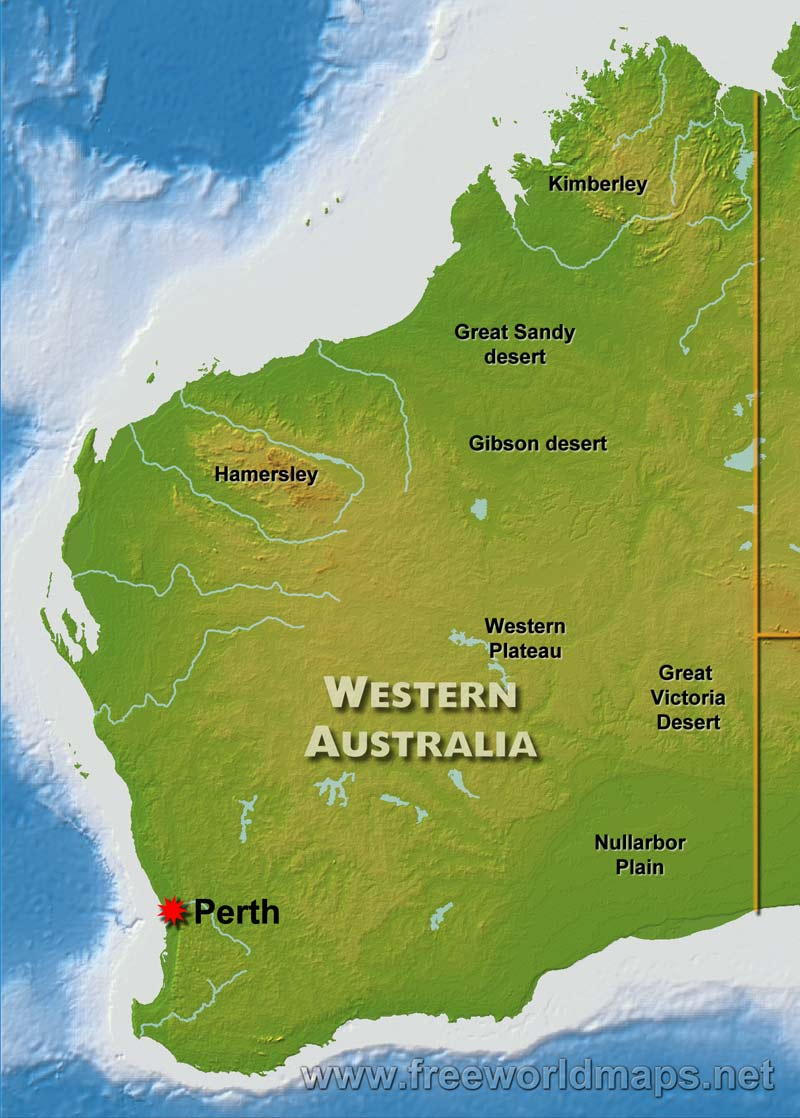 Physical map of western australia australia western australia geography gumiabroncs Image collections