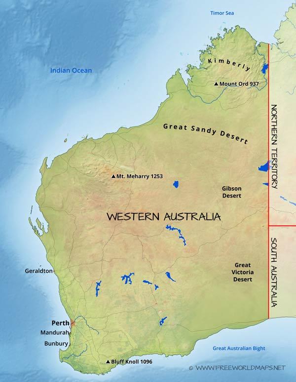 Physical map of Western Australia Australia