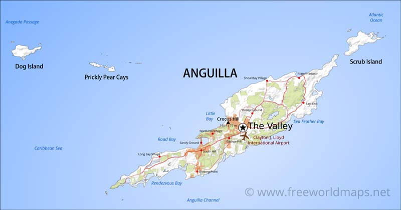Anguilla Map Geographical features of Anguilla of the Caribbean