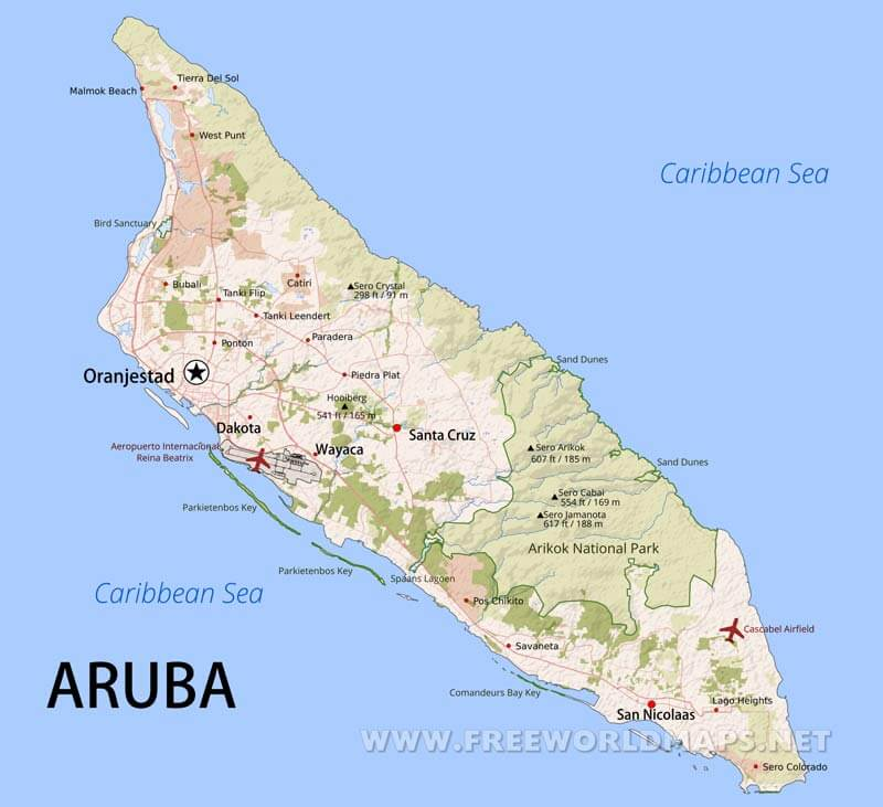 Aruba Map Geographical features of Aruba of the Caribbean