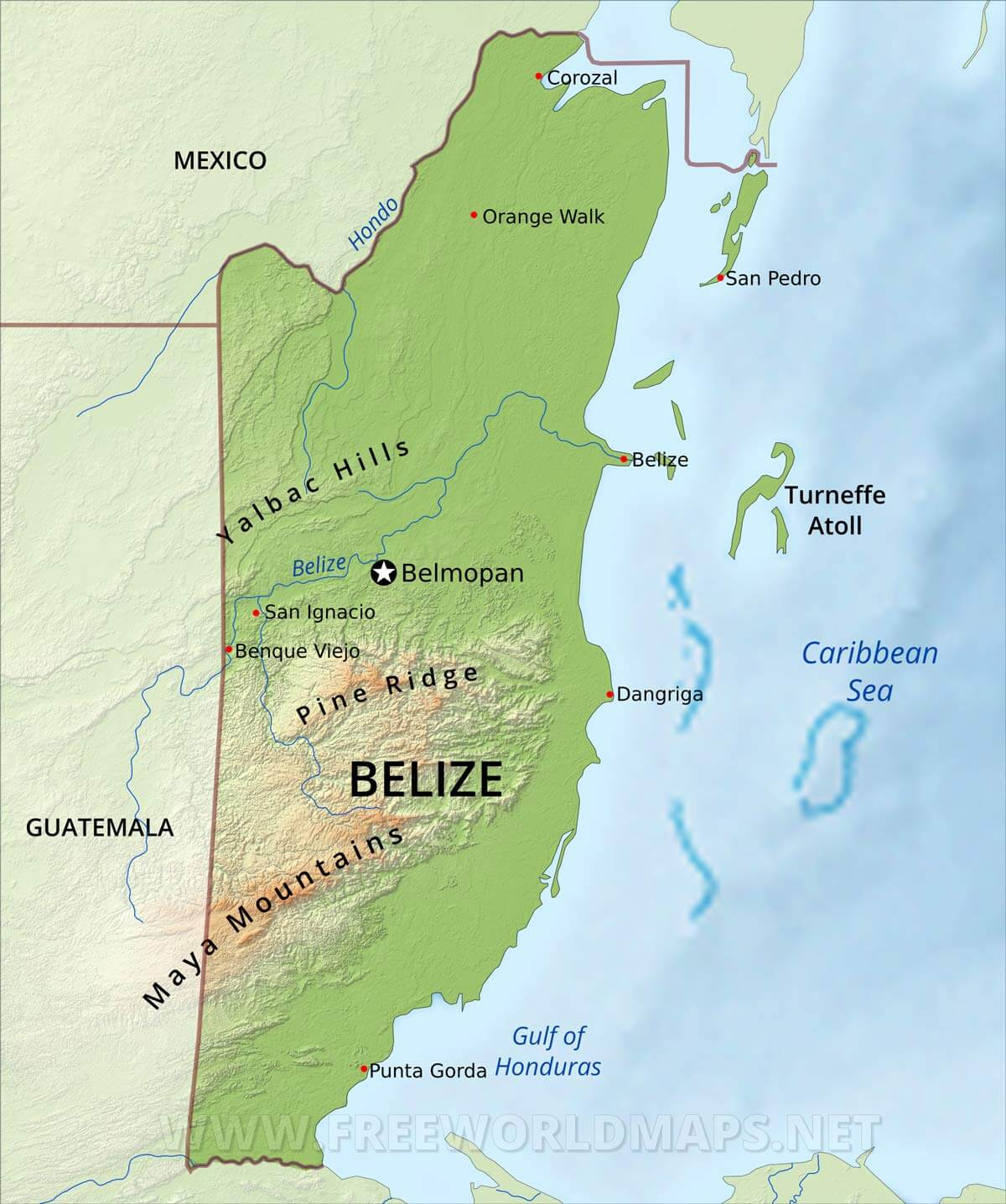 Belize Physical Map - Belize map