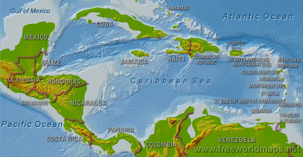 Central America Physical Map Freeworldmapsnet - Map of caribbean