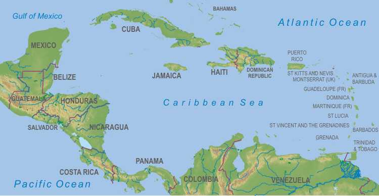 Physical Map Of Carribean Fashion Pictures - Central america caribbean physical map 2002