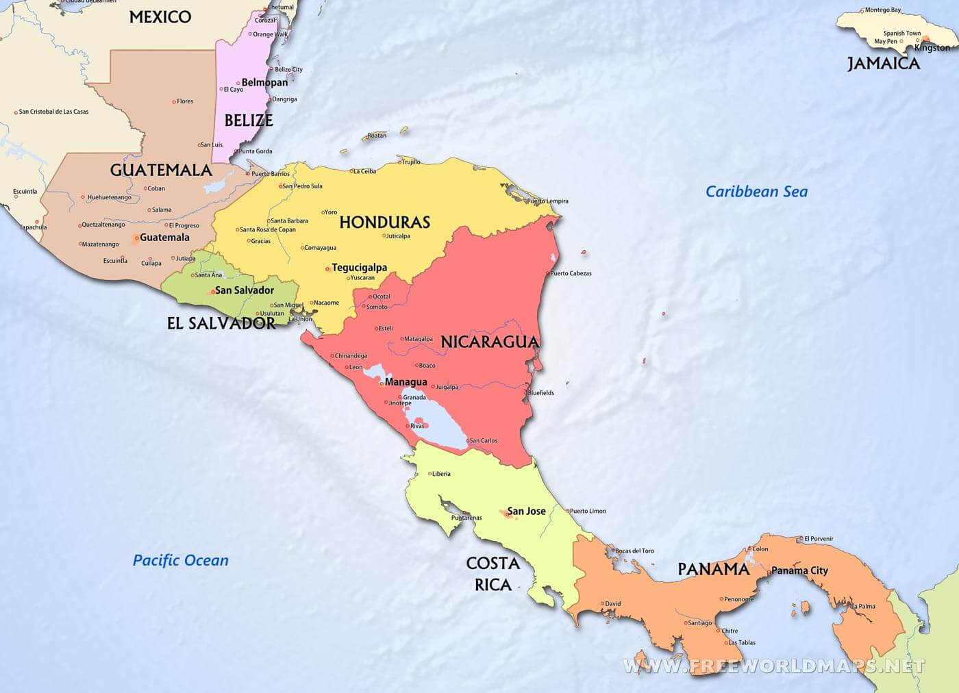 Cenral America Map.Central America Political Map