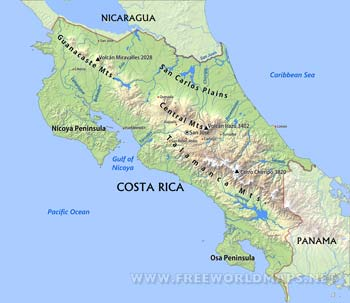 Costa Rica Maps - FreeWorldMaps.net