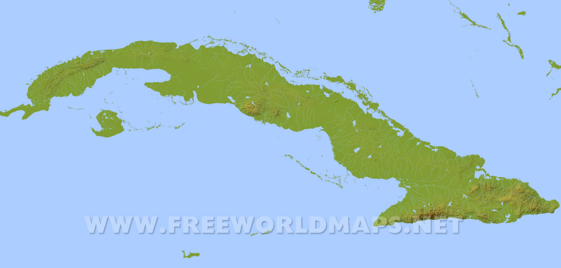 Cuba Physical Map - Map of cuba and southeast us