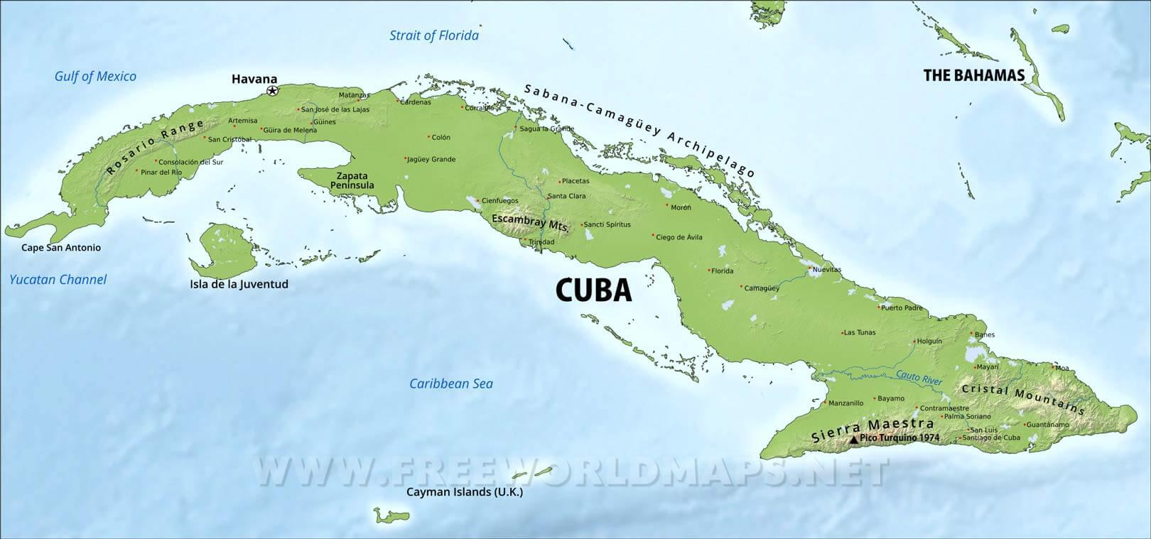 Cuba Physical Map - Cuba map