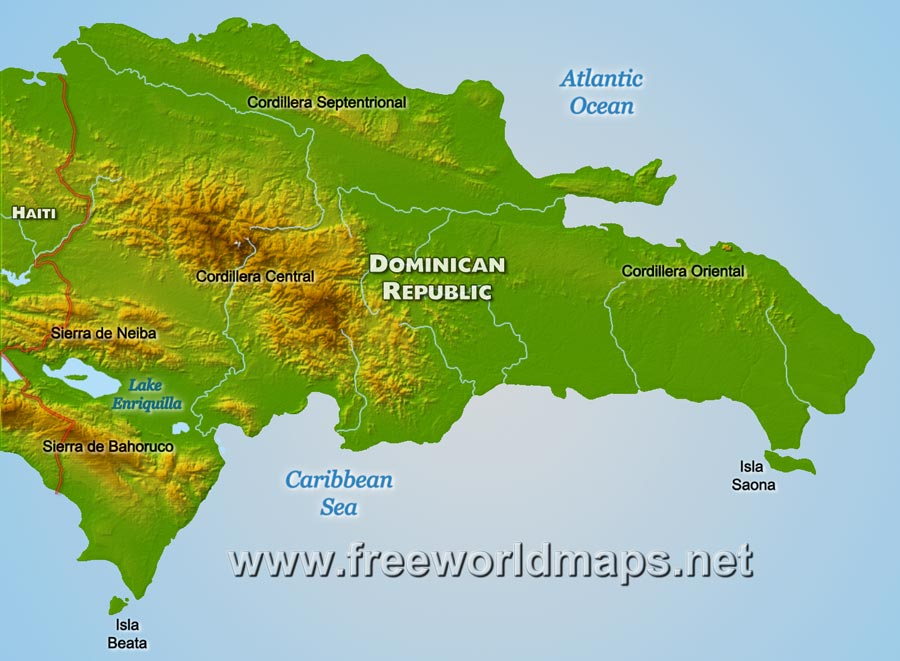 Dominican Republic Physical Map - Physical map of haiti