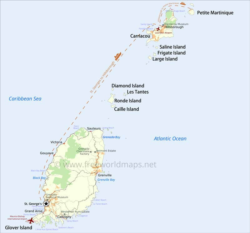 Grenada Map Geographical features of Grenada of the Caribbean