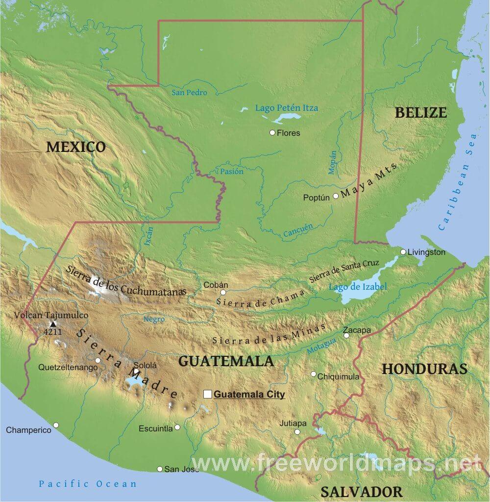 Guatemala Physical Map