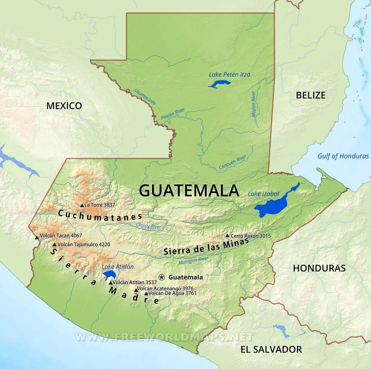 Guatemala Physical Map