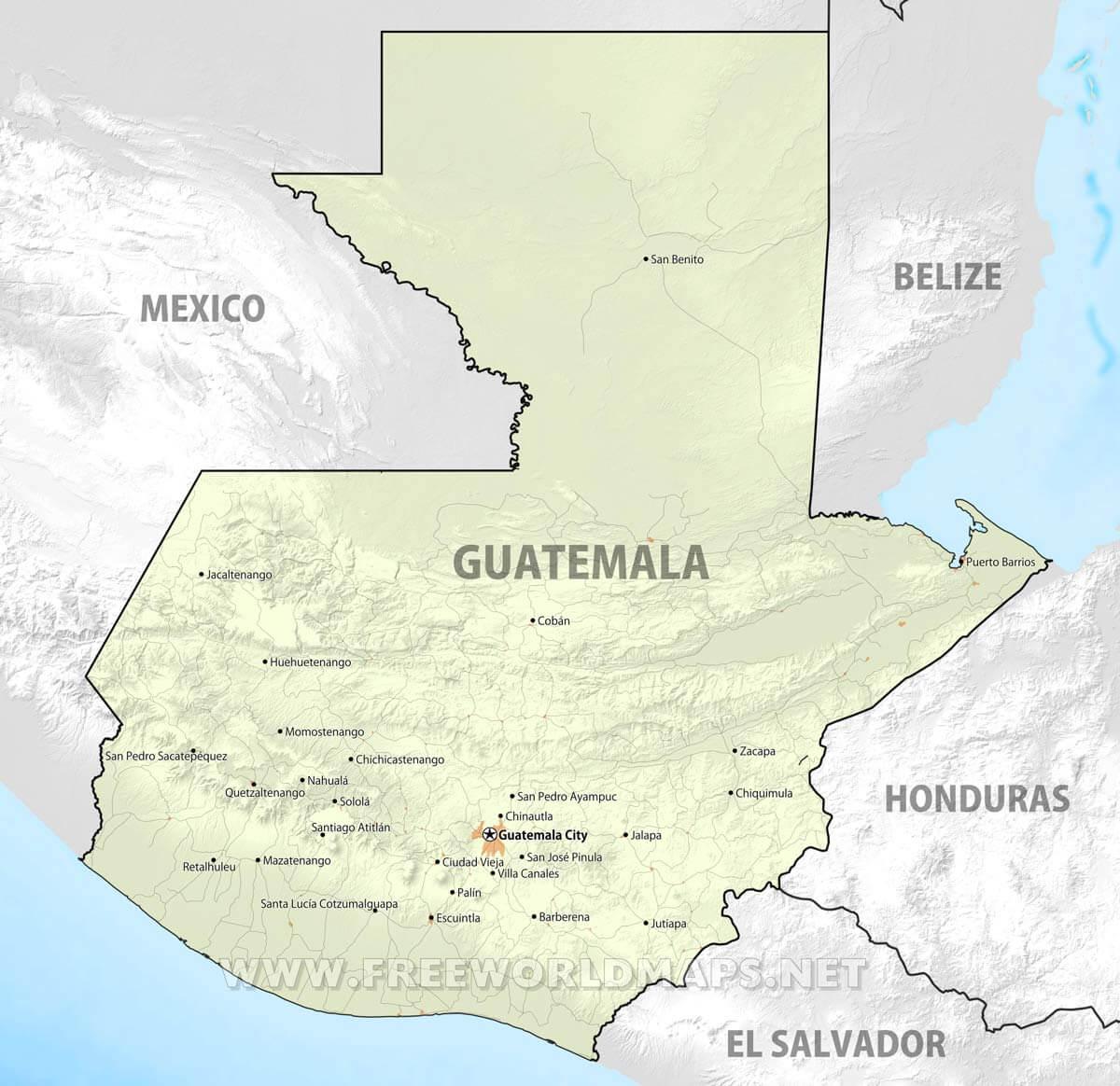 Guatemala Maps FreeWorldMapsnet