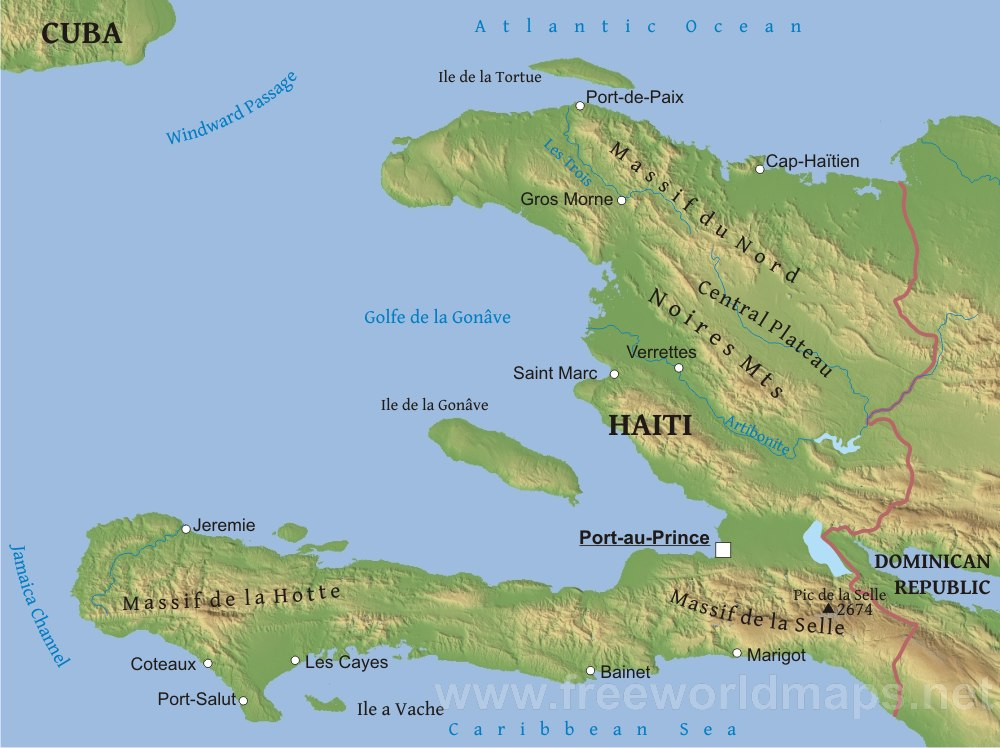 Haiti Physical Map - Physical map of haiti