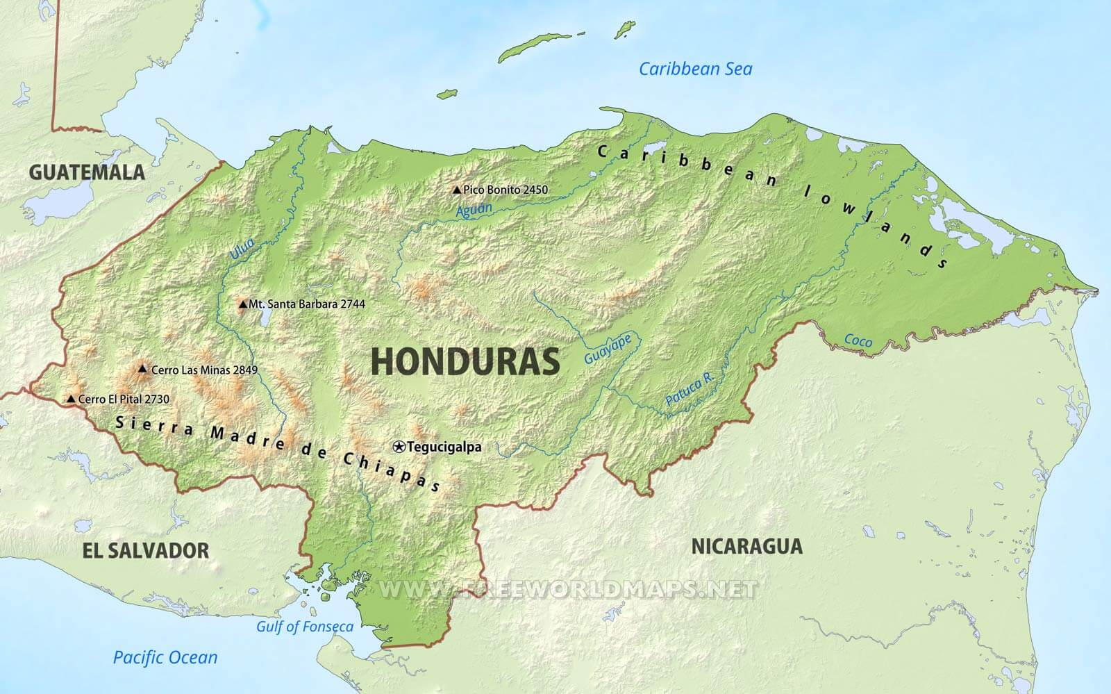 Honduras physical map gumiabroncs