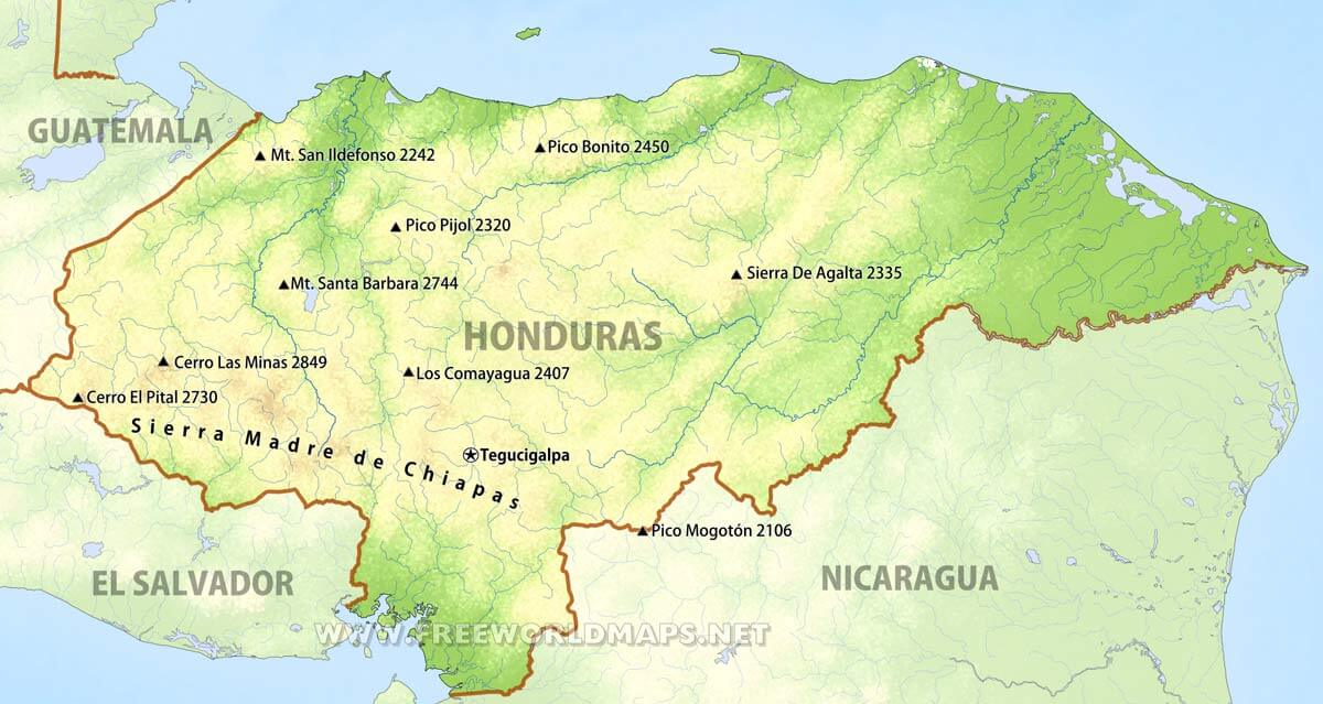 Honduras Geographical Features Honduras Mountains