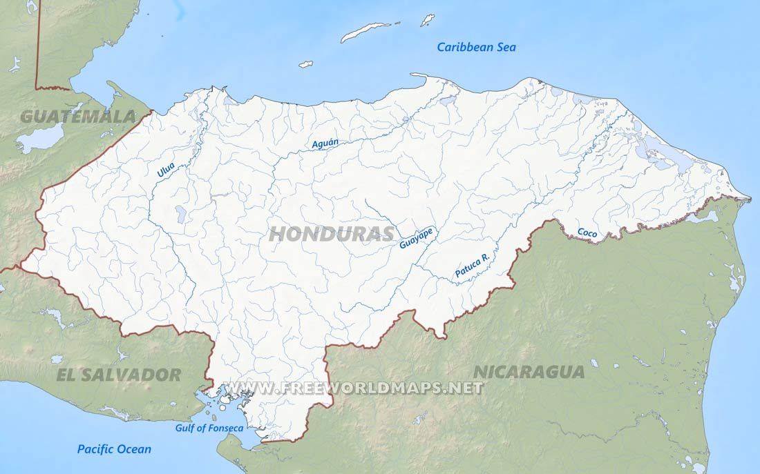 physical map of Honduras Honduras hygrography Geographical