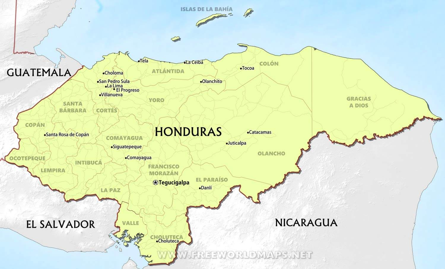 Honduras Maps FreeWorldMapsnet - Hondurus map