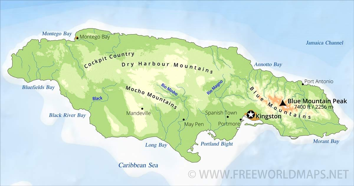 Jamaica Physical Map - Jamaica map caribbean sea