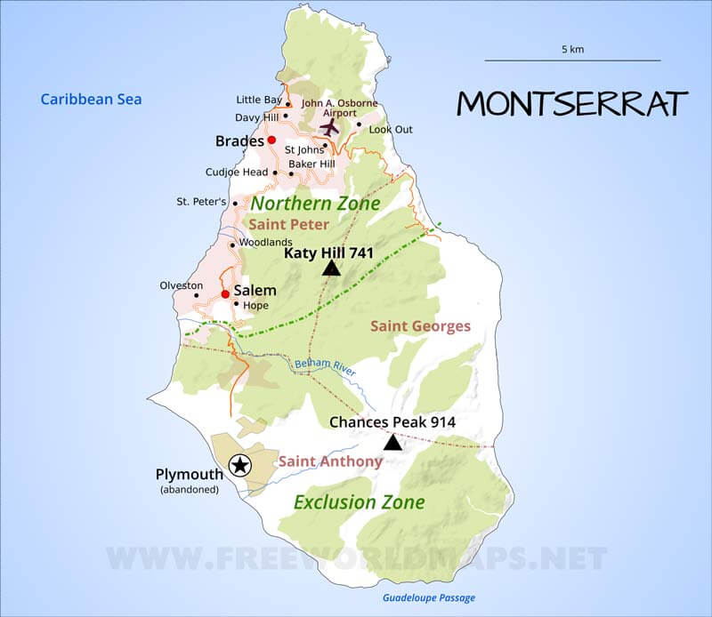 Montserrat Map Geographical features of Montserrat of the Caribbean