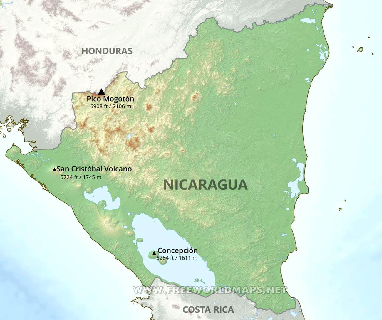a geography of nicaragua Nicaragua (officially the republic of nicaragua spanish: república de nicaragua) is a country in central america, bordering both the caribbean sea and the north pacific ocean, between costa rica and honduras nicaragua is the largest country in central america nicaragua covers a total area of .