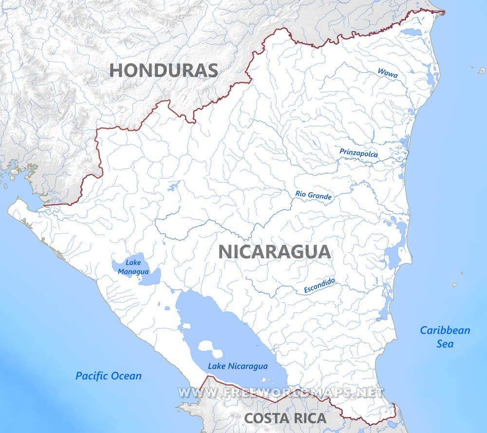 Nicaragua Physical Map - Nicaragua map hd