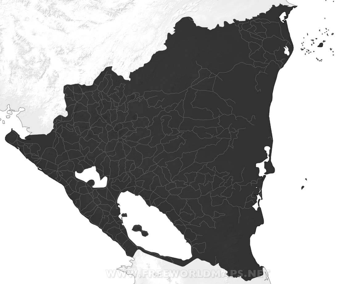 Nicaragua blank map Nicaragua black u0026 white