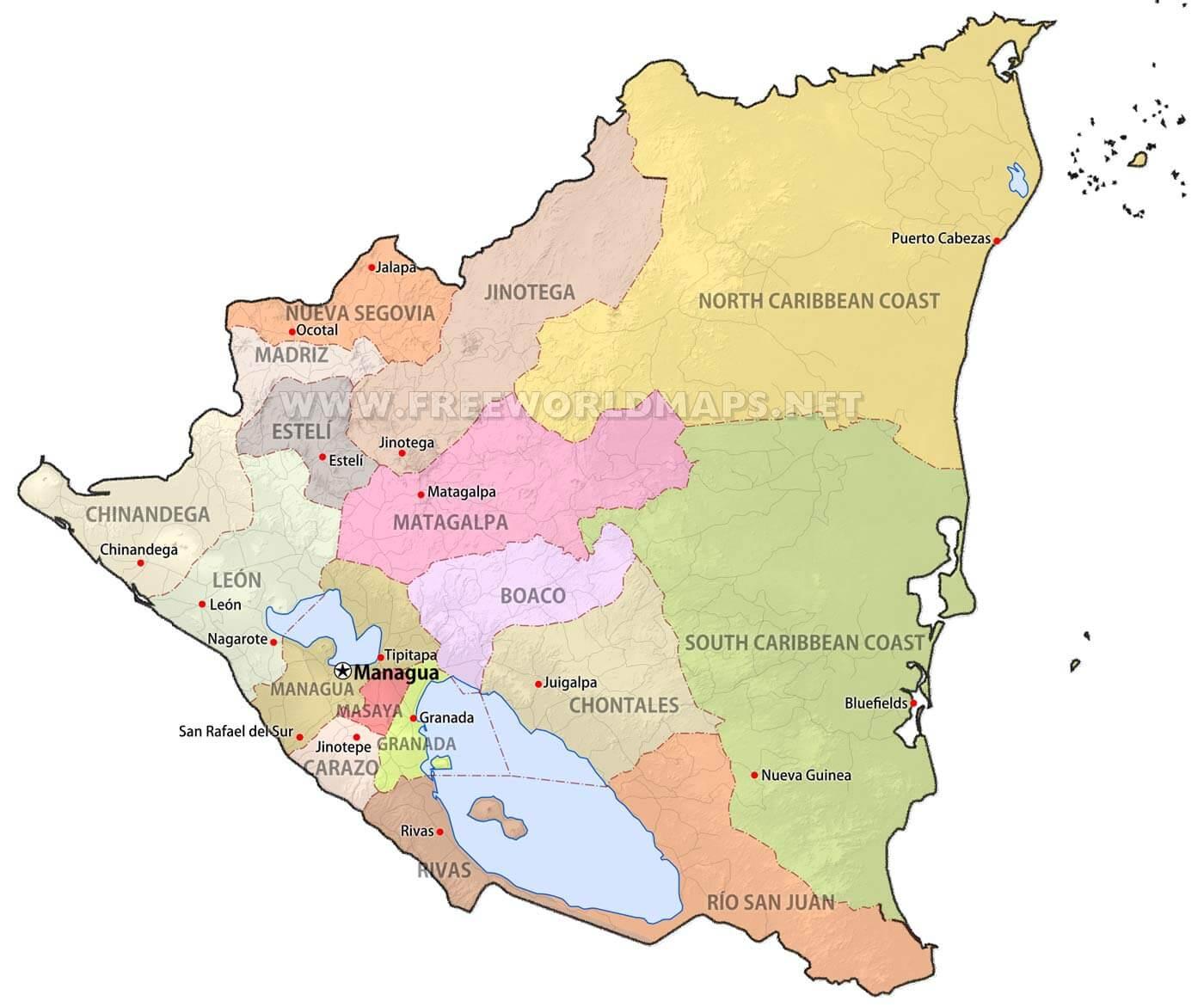 Nicaragua Maps FreeWorldMapsnet - Nicaragua map