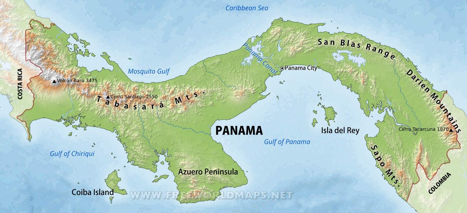 Panama Physical Map - Map panama
