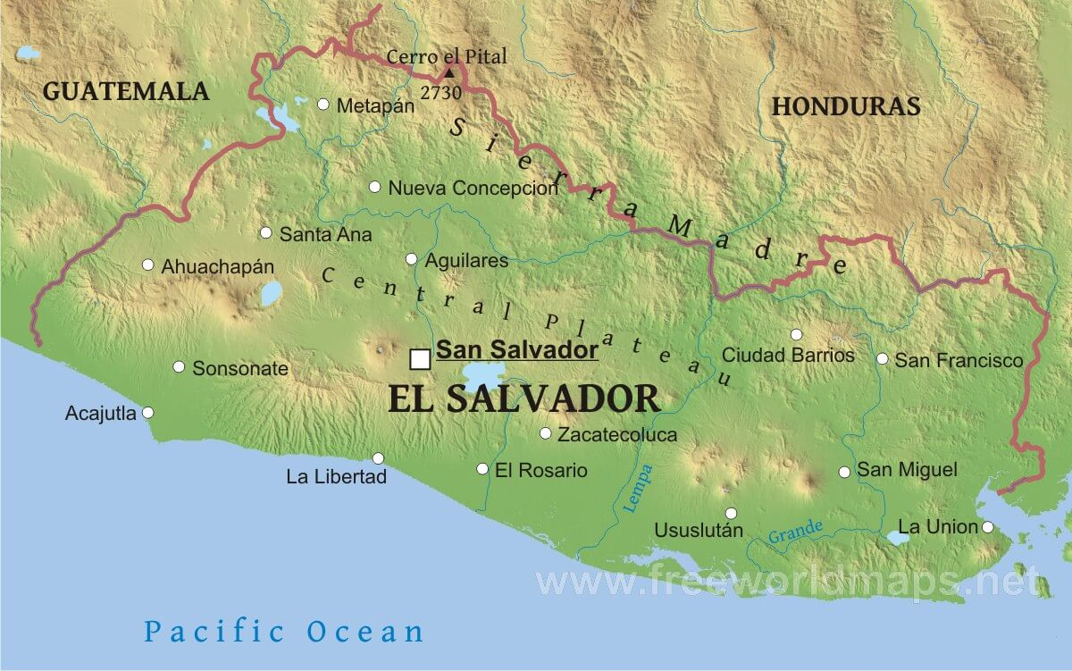 salvador geography. salvador physical map