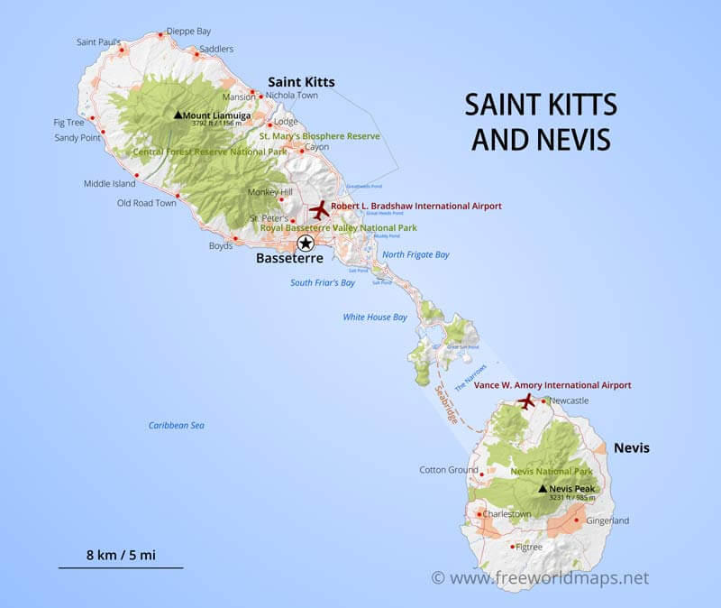 Saint Kitts And Nevis Map Geographical Features Of Saint Kitts - Saint kitts and nevis map