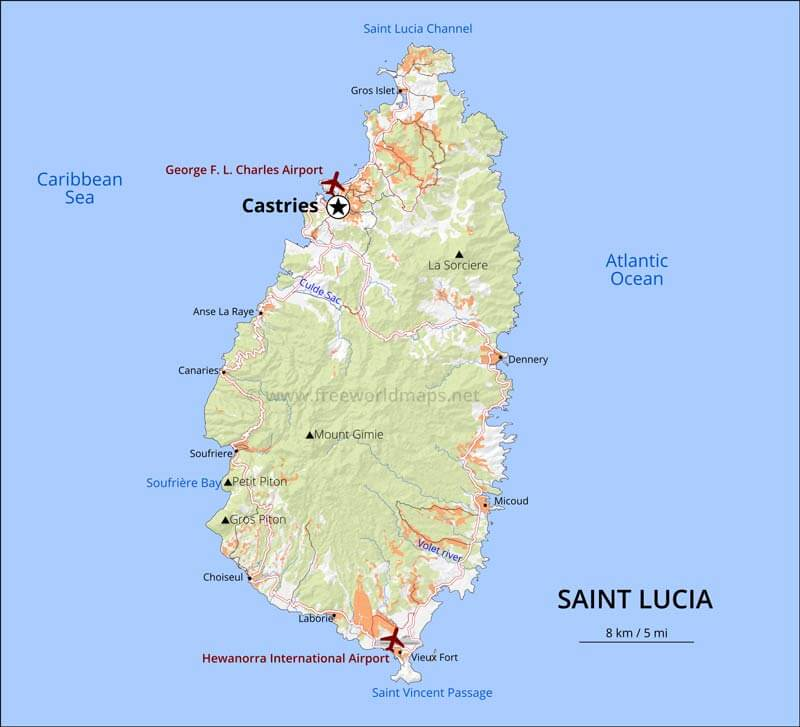 Saint Lucia Map Geographical Features Of Saint Lucia Of The - Saint lucia map