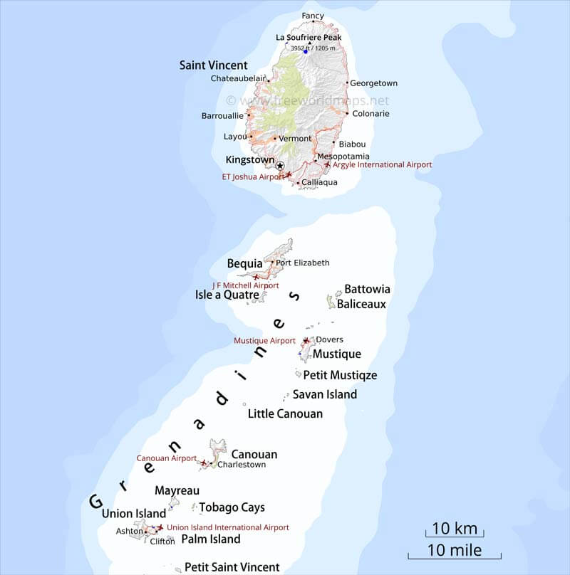 Saint Vincent and the Grenadines Map Geographical features of Saint