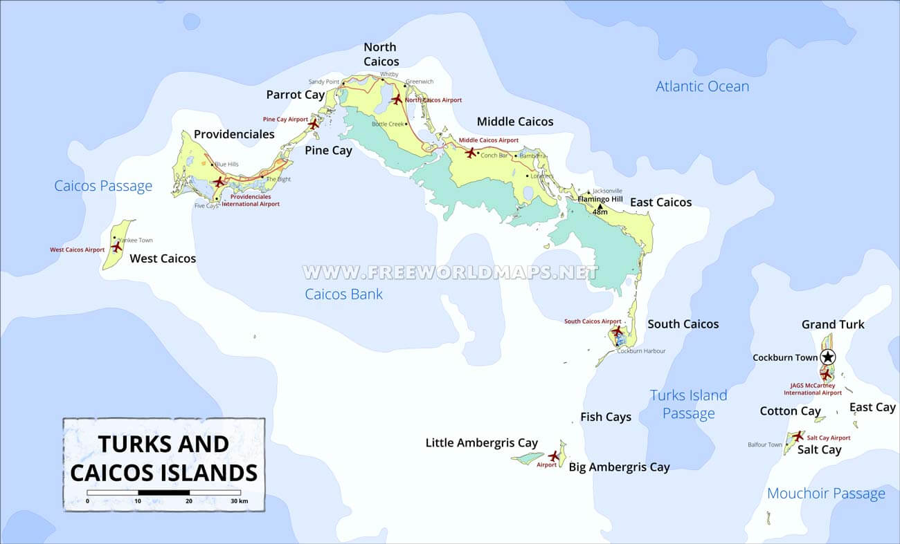 Turks And Caicos Islands Map Geographical Features Of Turks And - Central america and the caribbean islands map