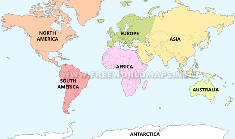 Seven continents – maps of the continents by FreeWorldMaps.net
