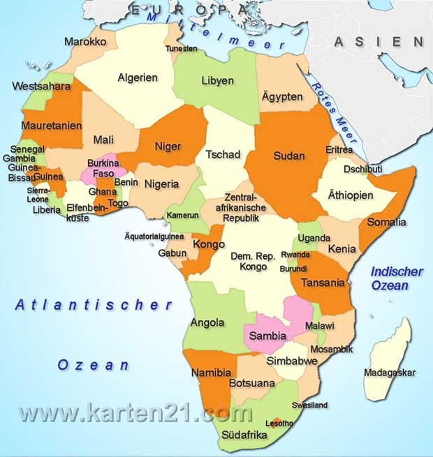 Karte Afrika.Karte Von Afrika Freeworldmaps Net