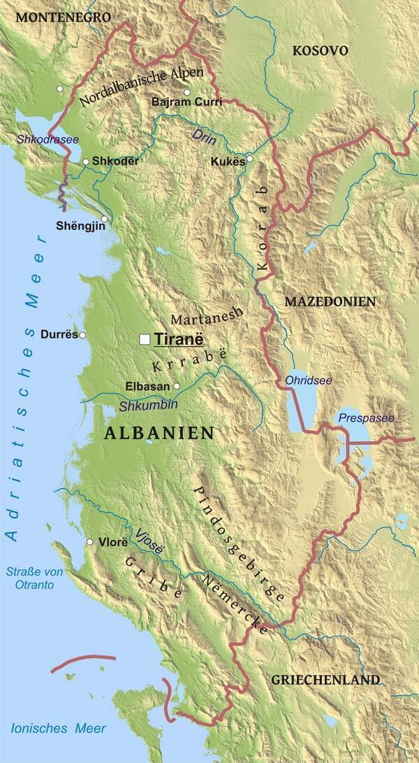 Karte Albanien.Karte Von Albanien Freeworldmaps Net