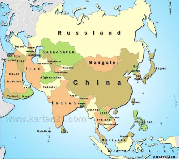 Politische Karte Asien.Karte Von Asien Freeworldmaps Net